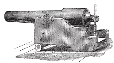 Parrott rifle 또는 Parrott cannon old engraving. Parrott 소총 대포의 오래 된 새겨진 된 그림입니다.