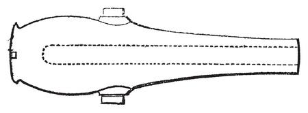 cast iron: Rodman gun vintage engraving. Old engraved illustration of a Rodman gun section. Designed by Union artilleryman Thomas Jackson Rodman