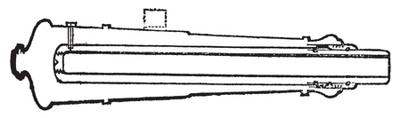 cast iron: Palliser shot or Palliser gun old engraving. Old engraved illustration of a close-up of a Palliser gun section. Illustration