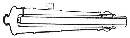 artillery: Palliser shot or Palliser gun old engraving. Old engraved illustration of a close-up of a Palliser gun section. Illustration