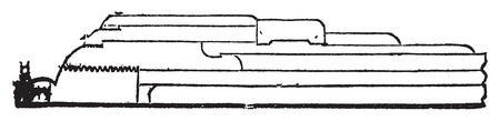 Armstrong gun section old engraving. Old engraved illustration of a of a Armstrong gun section.