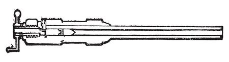 breech: Section barrel Armstrong breech-loading old engraving. Old engraved illustration of a Armstrong gun section.