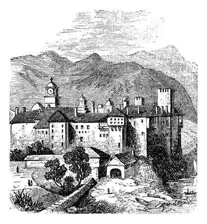 Mount Athos, the Holy Mountain, Akté, Acte or Akte, Macedonia, Greece. Vintage engraving. Old engraved illustration of Mount Athos. It is a mountain and peninsula in Macedonia, Greece.
