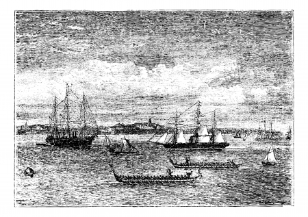 Auckland harbor in the 1890s vintage engraving, New Zealand. Old engraved illustration of Auckland harbor in the 1890s, showing ships. Vector
