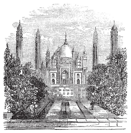 pakistani: Badshahi Mosque in Lahore, Pakistan, during the 1890s, vintage engraving. Old engraved illustration of Badshahi Mosque showing courtyard.