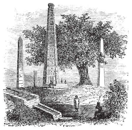 obelisk stone: Obelisk of Axum or Rome Stele, in Tigray Region, Ethiopia, during the 1890s, vintage engraving. Old engraved illustration of the Obelisk of Axum.