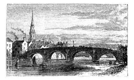 Río Ayr Puentes. Puente Viejo o en Brig Auld Ayr sobre River, en Escocia, durante la década de 1890, el grabado de la vendimia. Ilustración del Antiguo grabado del Puente Viejo sobre el río Ayr. Ilustración de vector