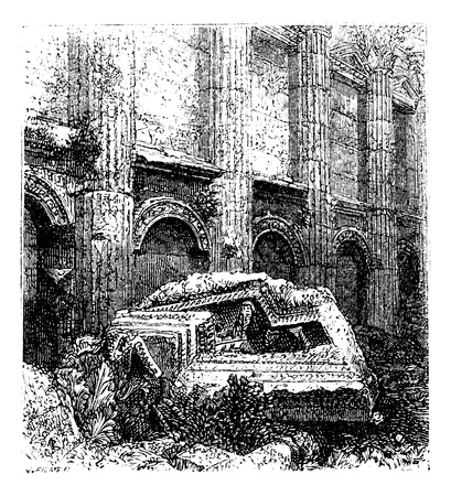 Temple of Jupiter at Baalbek, Bekaa Valley, Lebanon, during the 1890s, vintage engraving. Old engraved illustration of the Temple of Jupiter.