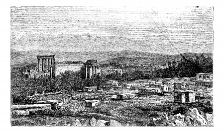 Ruins at Baalbek, Bekaa Valley, Lebanon, during the 1890s, Ancient Babylon, vintage engraving. Old engraved illustration of the Ruins at Baalbek.