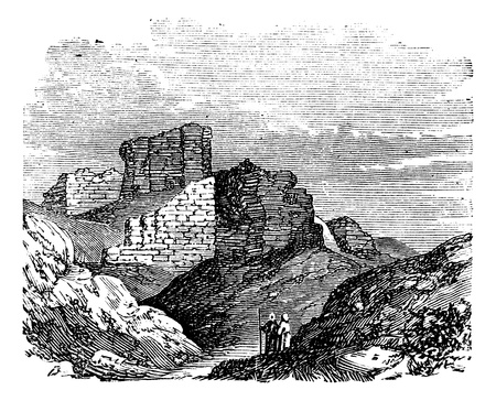 Ruins of the Main Palace in Babylonia in Babil, Iraq, during the 1890s, vintage engraving. Old engraved illustration of the Ruins of the Main Palace in Babylonia.