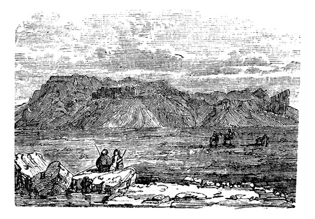 West view of the Ruins of the Temple of Zeus Belus in Babil, Iraq, during the 1890s, vintage engraving. Old engraved illustration of the Ruins of the Tower of Belus in Babil. Vector