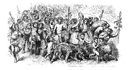 antigua grecia: Bacanales, fiestas salvajes y una mística del grabado greco-romano dios Baco de la vendimia. Ilustración del Antiguo grabado de las personas que participan en el festival de bacanales.