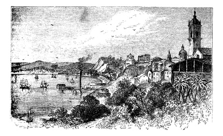 Bahia in Salvador, Brazil, during the 1890s, vintage engraving. Old engraved illustration of the coast of Bahia. Ilustracja