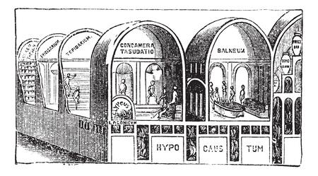 rome italie: Thermes de Titus � Rome, en Italie, vintage engraving. Ancien illustration grav� des Thermes de Titus.