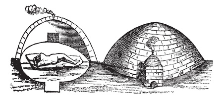 lodge: Mexican Vapor Bath or Temazcal, vintage engraving. Old engraved illustration of a Mexican Vapor bath showing cross-section of the chamber (left) and the pit (right). Illustration