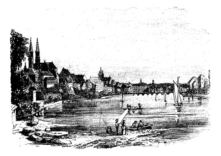 Bale, in Istria, Croatia, during the 1890s, vintage engraving. Old engraved illustration of Bale showing people fishing and sailing on the coast. Vector