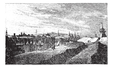 Baltimore, in Maryland, USA, during the 1890s, vintage engraving. Old engraved illustration of Baltimore showing harbor. Illustration