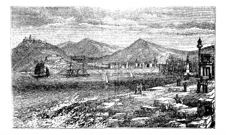 port of spain: Barcelona, in Spain, during the 1890s, vintage engraving. Old engraved illustration of Barcelona showing port, ship and citizens.