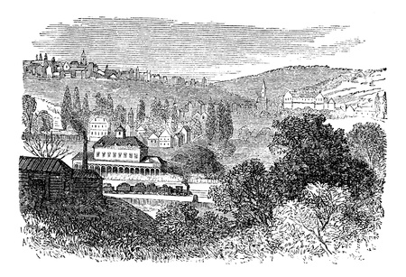 antique clock: Bar-le-Duc or the Bar, in Lorraine, France, during the 1890s, vintage engraving. Old engraved illustration of Bar-le-Duc commune.