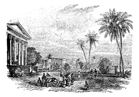 bengal: Barrackpore or Barrackpur, in West Bengal, India, during the 1890s, vintage engraving. Old engraved illustration of Barrackpore.