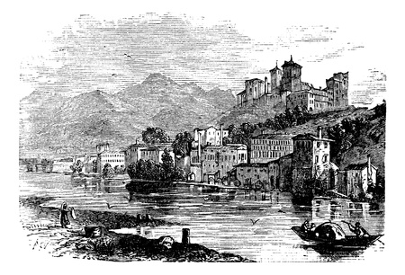Bassano del Grappa, in Veneto, Italy, during the 1890s, vintage engraving. Old engraved illustration of Bassano del Grappa. Vector