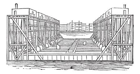 dockyard: Floating Basin, vintage engraving. Old engraved illustration of a Floating Basin.