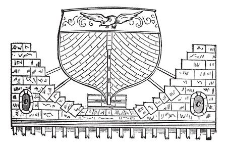dockyard: Floating Basin, vintage engraving. Old engraved illustration of a Floating Basin with Ship.