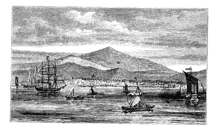 Jakarta (Batavia) in Indonesia, during the 1890s, vintage engraving. Old engraved illustration of Jakarta in the Java islands.