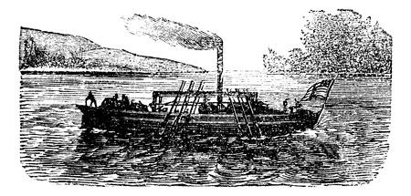 外輪船や蒸気船実験フィッチによるジョン、アメリカ、1786 年ヴィンテージで彫刻。旧図はフィッチによるジョン蒸気船実験の刻まれています。