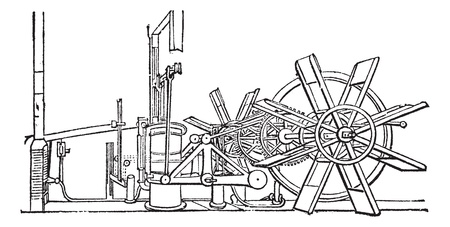 paddle: Clermont Steam Ship paddle wheel unit, vintage engraving. Old engraved illustration of the paddle wheel unit of the Clermont Steam Ship. Illustration