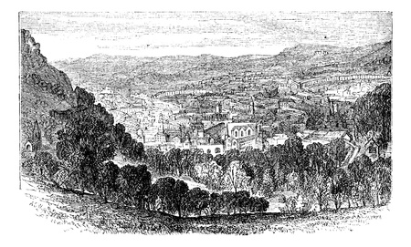 Bath city or city of Bath in Somerset, England. Old engraved illustration of the city of Bath, England. Vector