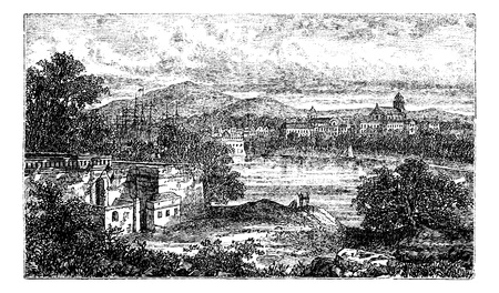 landscape architecture: Bayonne, in Aquitaine, France, during the 1890s, vintage engraving. Old engraved illustration of Bayonne.