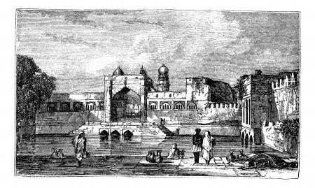 Ruins of Bijapur, in Karnataka, India, during the 1890s, vintage engraving. Old engraved illustration of Ruins of Bijapur. Stock Vector - 13772324