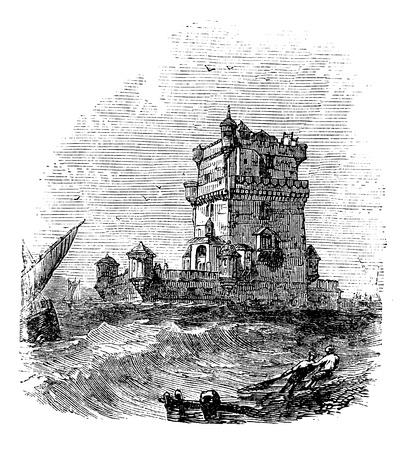 architectural heritage: Belem Tower, in Lisbon, Portugal, during the 1890s, vintage engraving. Old engraved illustration of the Belem Tower.
