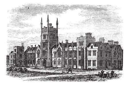 La Universidad de Queen en Belfast, Irlanda, durante la década de 1890, el grabado de la vendimia. Ilustración del Antiguo grabado de la Universidad de Queens en Belfast. Foto de archivo - 13771828
