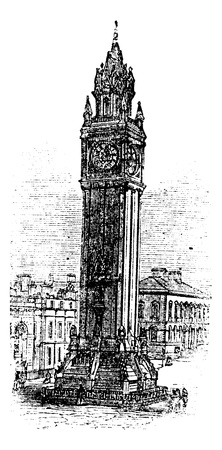 Albert Memorial Clock, in Belfast, Ireland, during the 1890s, vintage engraving. Old engraved illustration of the Albert Memorial Clock.