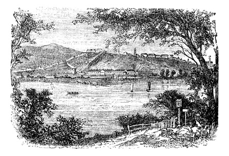 serbia: Belgrade, in Serbia, during the 1890s, vintage engraving. Old engraved illustration of Belgrade. Illustration