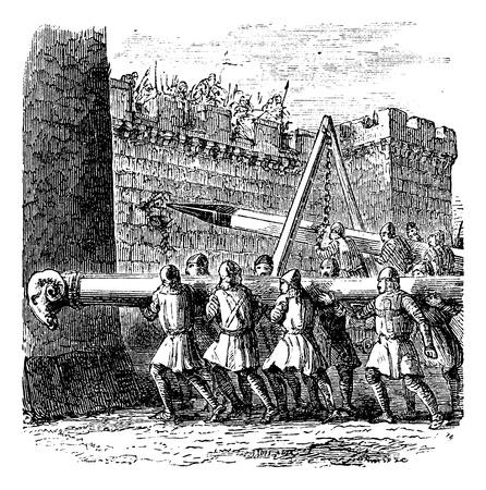shielded: Battering Ram, vintage engraving. Old engraved illustration of battering rams being used on a castle. Illustration