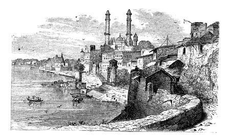uttar: Varanasi or Banares or Banaras, in Uttar Pradesh, India, during the 1890s, vintage engraving. Old engraved illustration of Varanasi. Illustration
