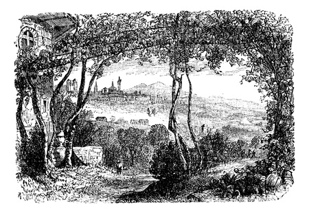 the citadel: Bergamo, in Lombardi, Italy, during the 1890s, vintage engraving. Old engraved illustration of Bergamo. Illustration