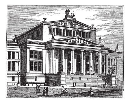 Konzerthaus Berlin also known as Schauspielhaus Berlin, concert hall, Berlin, Germany, old engraved illustration of the Konzerthaus Berlin, concert hall, Germany.  Stock Vector - 13771563