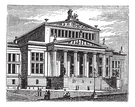 teatro antiguo: Konzerthaus de Berlín, también conocido como el Schauspielhaus de Berlín, sala de conciertos, Berlín, Alemania, antigua ilustración grabada de la Konzerthaus de Berlín, sala de conciertos, Alemania. Vectores