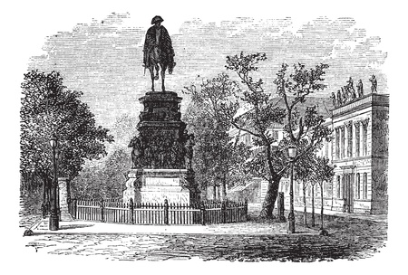 Frederick the Great also known as Fritz, king, statue, Berlin, Germany, old engraved illustration of the Frederick the Great king, statue, Berlin, Germany. Vector