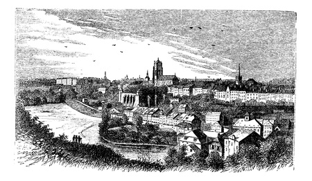 Bern city in late 1800s, Switzerland, old engraved illustration of the city, Bern, Switzerland.   Vector