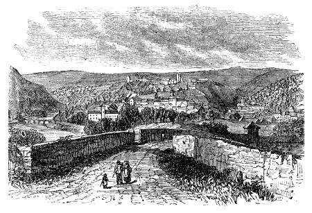 Besançon, city, Franche-Comte , France, old engraved illustration of the city, Besancon,France.