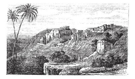 베들레헴, 도시, 팔레스타인, 이스라엘, 도시의 옛 새겨진 된 그림, 베들레헴, 팔레스타인, 이스라엘.