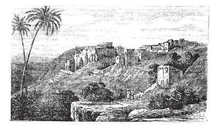 Bethlehem, city, Palestine, Israel, old engraved illustration of the city, Bethlehem, Palestine, Israel. Imagens - 13772329