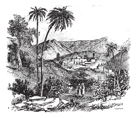 biblical: Bethany also known as Biblical village, old engraved illustration of the village, Bethany, Jerusalem