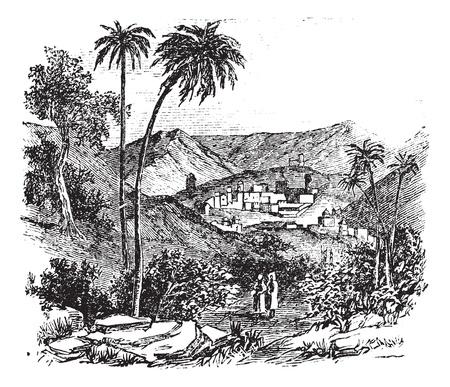 jeruzalem: Bethany ook wel bekend als bijbelse dorp, oude gegraveerde afbeelding van het dorp, Bethanië, Jeruzalem