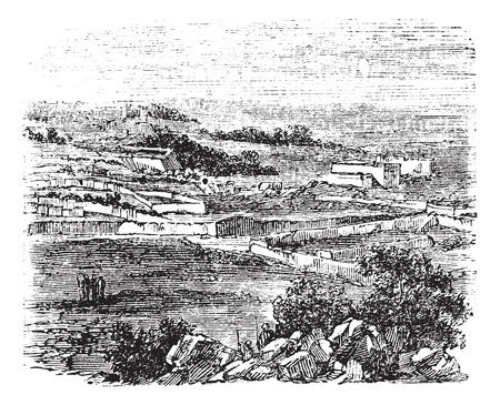 jeruzalem: Bethel dorp, Jeruzalem, oude gegraveerde afbeelding van het dorp, Bethel, Jeruzalem in de jaren 1890 Stock Illustratie